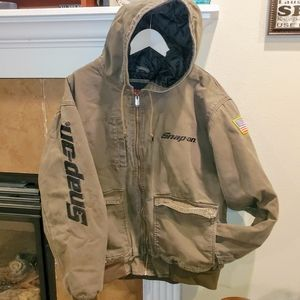 Snap On Tools Olive Canvas Full Zip Hooded Jacket